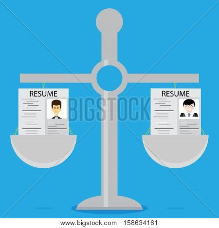 Weighing and selection resume. Hiring and recruitment process vector illustration