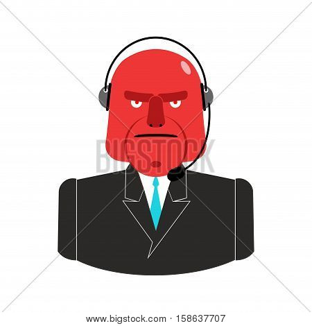 Angry Call Center. Red Man With Headset. Aggressive Operator Feedback Clients. Customer Service