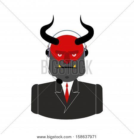 Hell Call Center. Satan With Headset. Devil Feedback Operator Customer Sinners. Customer Service