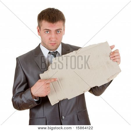 Sad Businessman With Cardboard Frame