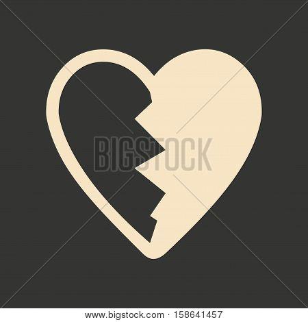 Flat in black and white mobile application heart broken