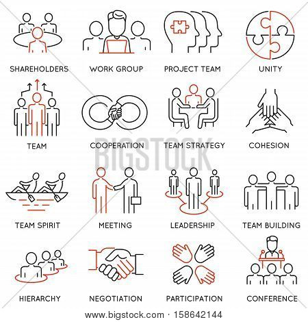 Vector set of linear icons related to business process team work and human resource management. Mono line pictograms and infographics design elements