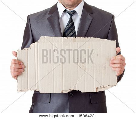 Businessman With Cardboard Frame
