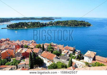 Rovinj town - coastline seascape panorama summer horizontal photo from bell tower Church of St.Euphemia Croatia