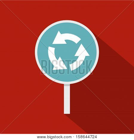 Blue round road sign with arrows icon. Flat illustration of round road sign with arrows vector icon for web isolated on rufous background