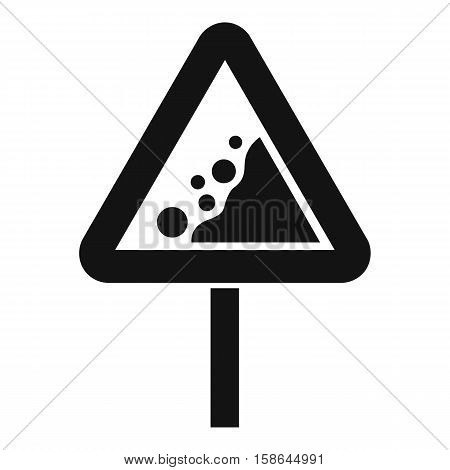 Falling rocks warning traffic sign icon. Simple illustration of falling rocks warning traffic sign vector icon for web