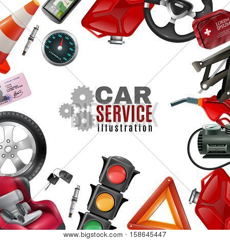 Car service template with auto maintenance tools and accessories on white background vector illustration