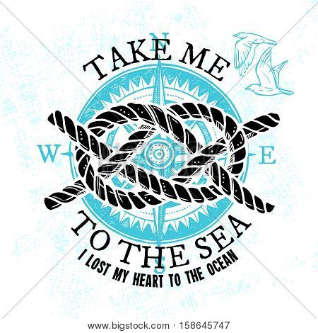 Nautical sketch sign with marine rope knot gull and blue compass isolated vector illustration