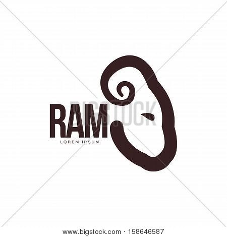 Ram, sheep, lamb head graphic logo template, vector illustration on white background. Side view black and white sheep, lamb, ram head for business, farm, wool products logo design