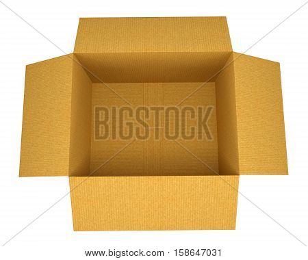 Open corrugated cardboard box on white background. Top view. 3D rendering