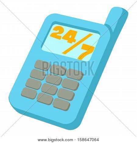 Mobile phone 24 7 service icon. Cartoon illustration of mobile phone 24 7 service vector icon for web