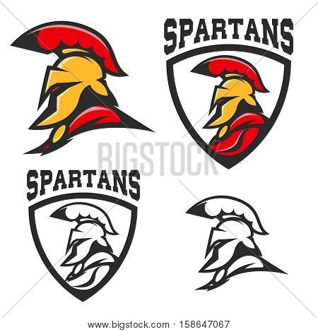 Set of emblems with  Spartan helmet . Design element for logo, label, sign, brand mark. Vector illustration.