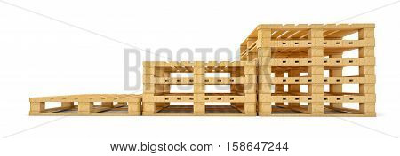 Stair of wooden euro pallets isolated on white background. 3D rendering