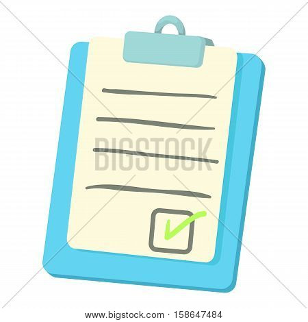 Checklist on a clipboard icon. Cartoon illustration of checklist on a clipboard vector icon for web