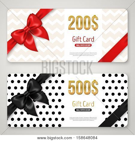 Gift card layout template with red and black bow ribbon in corners. Shopping certificate, glittering premium vip design. Vector illustration. Polka dots and chevron ornament