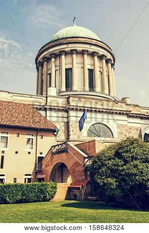 Beautiful basilica in Esztergom Hungary. Cultural heritage. Travel destination. Largest building. Place of worship. Retro photo filter. Religious architecture.