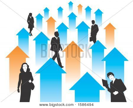 Businesspeople With Arrows