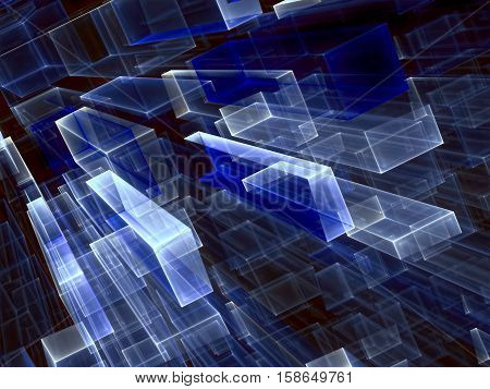 Abstract tech background - computer-generated 3d illustration. Fractal geometry: glass rectangles with light effects and perspective. Technology, business or telecommunication backdrop.