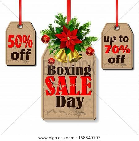 Boxing day sale tags with evergreen trees with christmas bells isolated on white