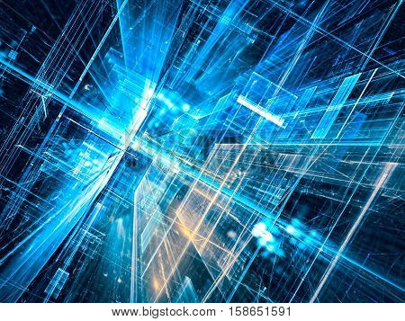 Abstract future technology background - computer-generated 3d illustration. Fractal art: glass room or street of surreal city with light effects. Hi-tech or virtual reality concept.