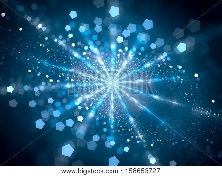 Blue glowing hub in space with particles computer generated abstract background 3D render