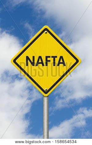 North American Free Trade Agreement yellow warning road sign Yellow caution sign with words NAFTA with sky background 3D Illustration