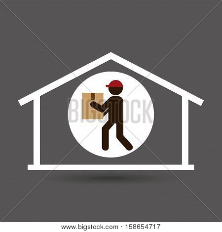 silhouette delivery man heavy package vector illustration eps 10
