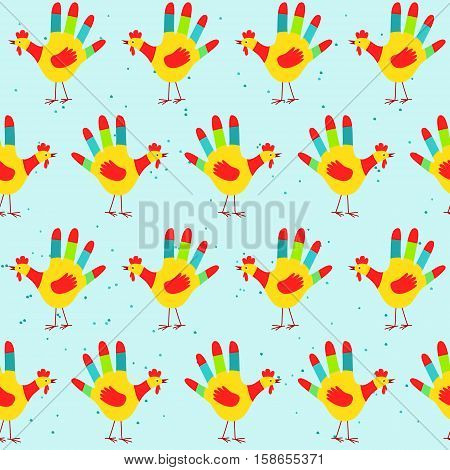 New Year 2017 seamless pattern with cute hand print rooster. Childish hand print rooster seamless pattern. 2017 New Year background, vector illustration in eps8 format.