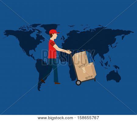 globe world man delivery pushing boxes vector illustration eps 10