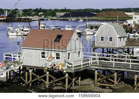 Badger's Island (Maine) waterfront on Piscataqua River looking toward Portsmouth New Hampshire