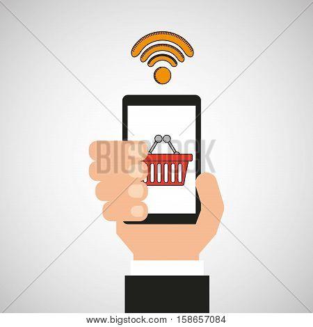 hand holding mobile wifi shopping vector illustration eps 10