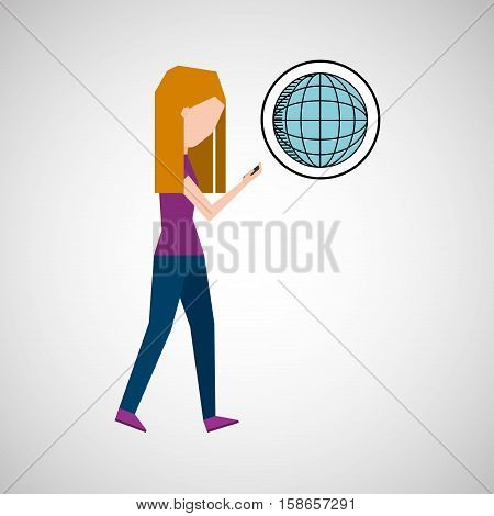 girl using phone world earth graphic vector illustration eps 10