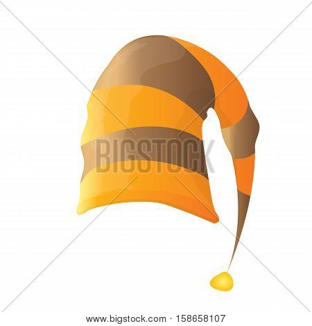 funky orange and brown stripped cartoon christmas vector elf hat isolated on white. vector elf hat icon or label