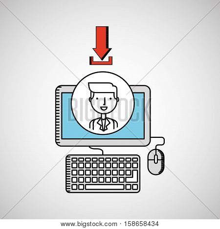 drawing computer pc photo download vector illustration eps 10