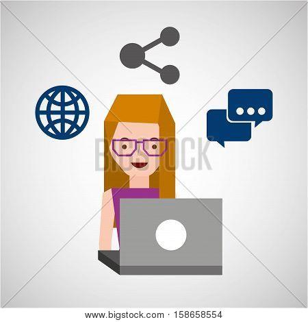 girl glasses user laptop share globe vector illustration eps 10