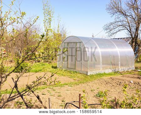 Modern Polycarbonate Greenhouse in Allotments for Growing Vegetables