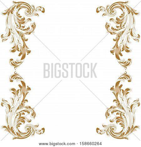 Golden vintage frame pattern, border frame pattern, engraving frame pattern, ornament  frame pattern, pattern frame, antique frame pattern, baroque frame pattern, decorative frame pattern. Vector.