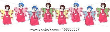 Beautiful border with cute cartoon fairies. Vector illustration for children. Print for fabric.