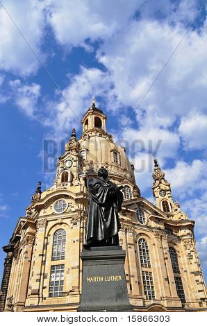 frauenkirche and martin luther statue in Dresden