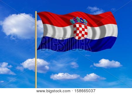 Croatian national official flag. Patriotic symbol banner element background. Correct colors. Flag of Croatia on flagpole waving in the wind blue sky background. Fabric texture. 3D rendered illustration