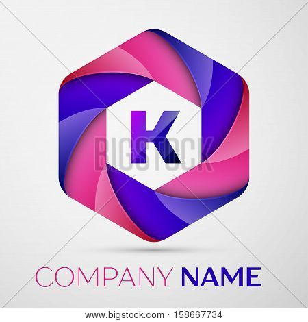 K Letter colorful logo in the hexagonal on grey background. Vector template for your design