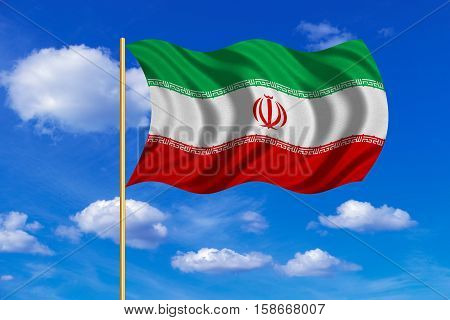 Iranian national official flag. Islamic Republic of Iran patriotic symbol banner element background. Correct colors. Flag of Iran on flagpole waving in the wind blue sky background. Fabric texture. 3D rendered illustration