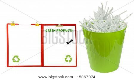 bulletin board with waste basket full of shredded paper