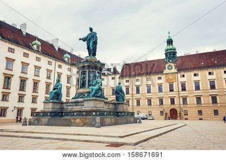 Vienna, Austria, October 13, 2016: Monument To Emperor Franz I Of Austria In The Innerer Burghof In