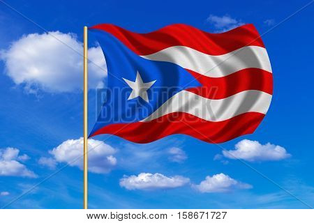 Puerto Rican national official flag. Patriotic symbol banner element background. Correct colors. Flag of Puerto Rico on flagpole waving in the wind blue sky background. Fabric texture. 3D rendered illustration