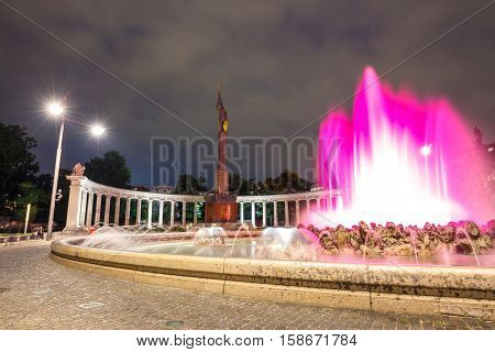 Vienna, Austria, October 13, 2016: Night View Of  World War Fountain And  Heroes Monument Of Red Arm
