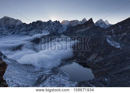 Beautiful Moraine Lake And Snowy Mountain Peaks In The Early Morning Lights In Himalayas, Nepal. Mir