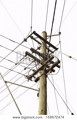 Electric mast with power lines