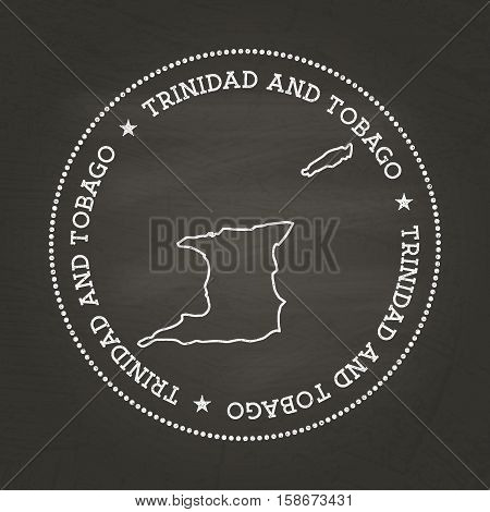 White Chalk Texture Vintage Seal With Republic Of Trinidad And Tobago Map On A School Blackboard. Gr