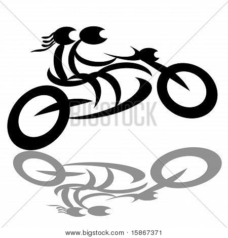 Bikers couple on motorcycle